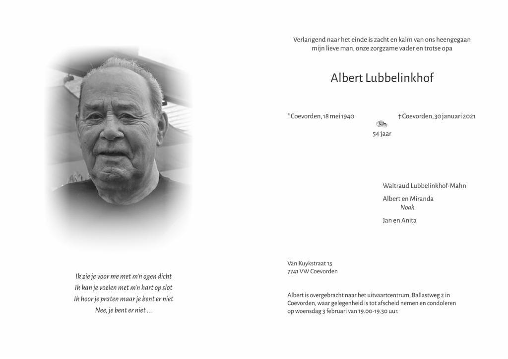 In memoriam: Albert Lubbelinkhof
